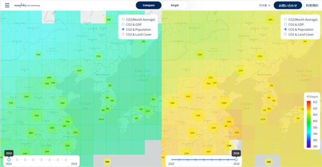 2010年(左)と2018年(右)のCO2と人口を表示。2010年の方が青く、CO2排出量が少ない。